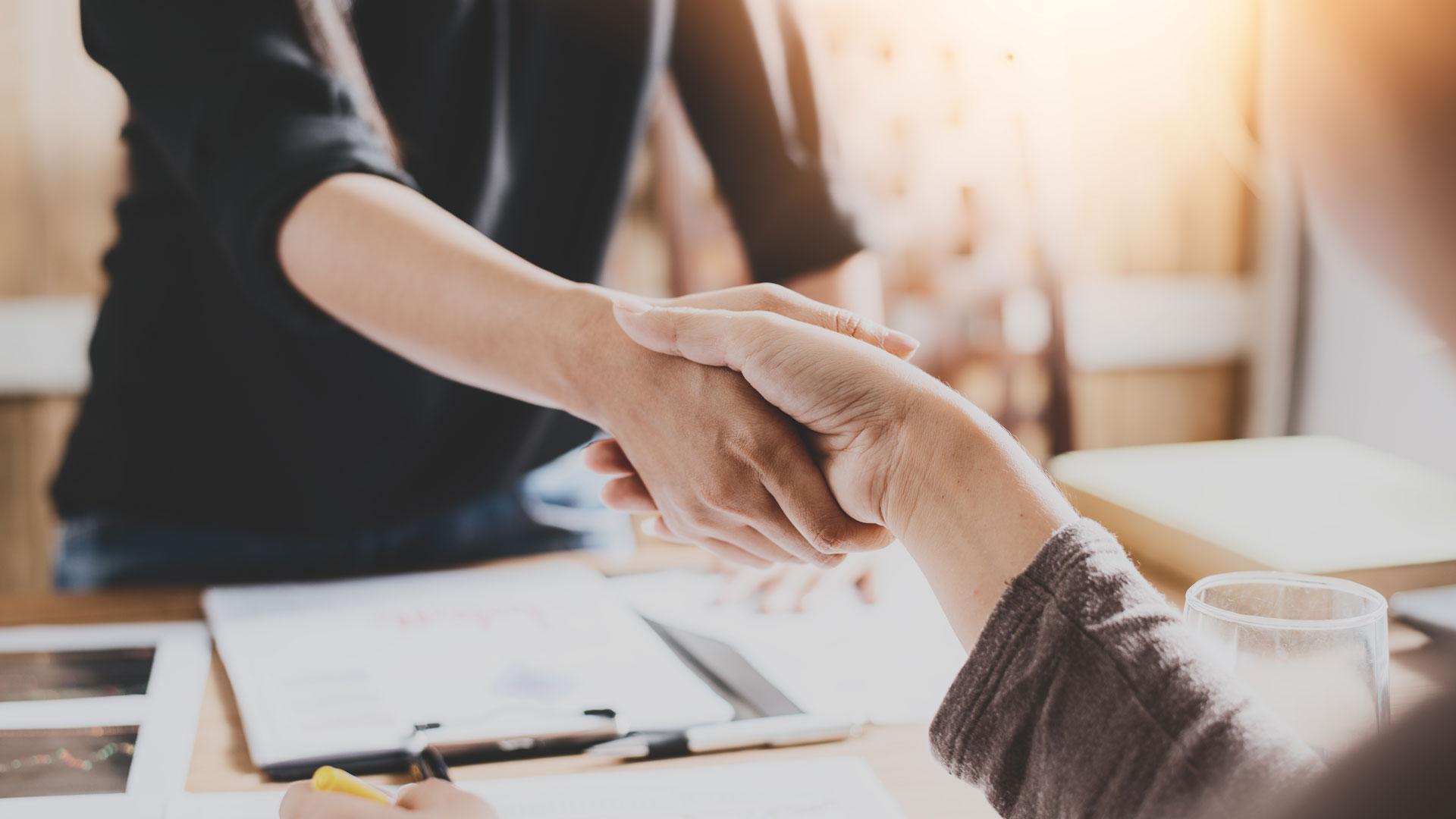 Händeschütteln für gute Zusammenarbeit